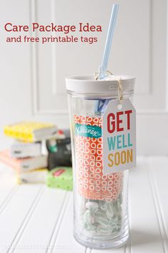 Get Well Soon Care Package Idea- has free printable get well soon tags.. CUTE!