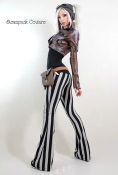 Black and gray stripe stretch pants