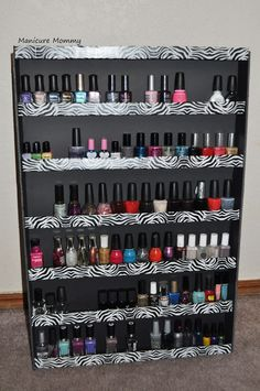 Nail polish rack made from foamboard...i think i might have to try this