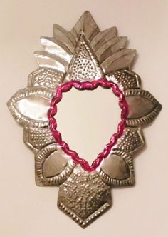 :D❤️ Mexican Tin Mirror Heart Wall Hanging Ornament Hand Punched 15