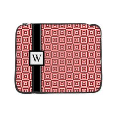 """Red Black Squares Monogram 15"""" Laptop Sleeve. Customizable with your own initial!"""