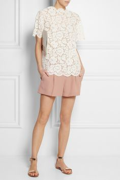 Valentino|Lace top|Theory | Clah pleated twill shorts | Gianvito Rossi | Metallic leather sandals | Stella McCartney | Faux leather clutch |