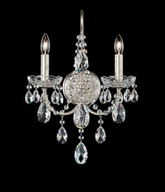 Schonbek Sonatina 2 Light Tall Wall Sconce with Clear Swarovski Cr Antique Silver Indoor Lighting Wall Sconces Candle Wall Sconces, Wall Sconce Lighting, Alice In Wonderland Party, Crystal Collection, Clear Crystal, Antique Silver, Swarovski Crystals, Wall Lights, Bronze