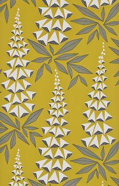Les objets de désir Papier peint Foxglove au grand motif de digitales pourprées inspiré des années 1950 (Miss Print pour Au fil des Couleurs)