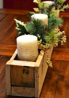 Simple rustic centerpiece box made from pallet wood scraps