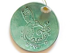 #ceramic #mint colored #dish with #bird