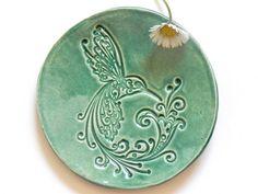 Ceramica piatto uccello menta Plate gioielli piatto Hummingbird anello titolare casa decorazione ceramica