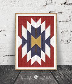 Decor arte occidental, manta mexicana, México, Azteca Print, tribales, rojo azul blanco oro pared arte, descarga inmediata para imprimir,