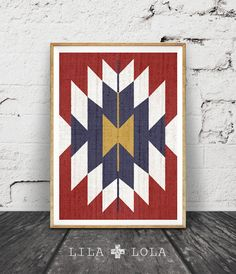 Aztec Wall Art Print Red Blue White Gold Pattern by LILAxLOLA