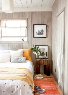 wood walls + bright colors