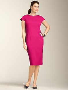 Talbots - Ponte Knit Notched Jewel-Neck Sheath | Dresses | Woman