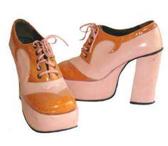 70s Authentic Vintage Platform Shoes Pink & Orange