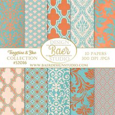 Turquoise and Coral digital paper, 12x12 inch digital paper, 8.5 x 11 inch digital paper, Damask digital paper, instant download, 300 dpi jpegs.