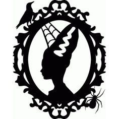 Silhouette Design Store - View Design #50110: halloween bride of frankenstein profile frame