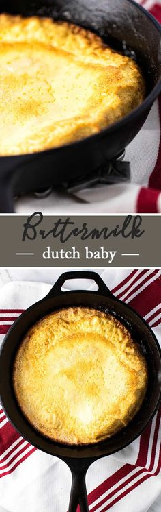 A baked buttermilk pancake with crispy edges and a soft eggy center. The batter takes 5 minutes to make in the blender | girlgonegourmet.com via @april7116