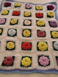 Granny Square 3D Flowers CROCHET AFGHAN / Baby Blanket 34x40  White Multi Color  #HandmadeAfghanLapghanBabyBlanket