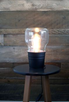 This bulb shaped table lamp is handmade in Finland Scandinavia. This lamp comes fully wired with a plug and switch and is ready for use. This