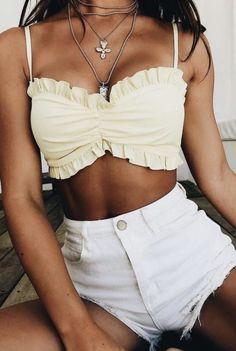 crop tops + white denim shorts