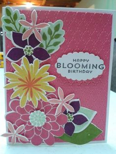 SU Flower Patch. Split Coast Stampers Blooming Birthday. LOVE!  Daffodil Delight, Blackberry Bliss, Pistachio Pudding, Strawberry Slush, Crisp Cantaloupe, Old Olive, Calypso Coral, Black.