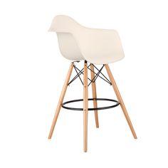 Barstool Arm Chair in Cream | dotandbo.com