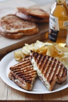 Ultimate Grilled Cheese--Ina Garten | Barefoot Contessa | secret is Parmesan, mustard and mayo spread on the bread along with Gruyere, Cheddar and Applewood Smoked Bacon