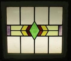 OLD-ENGLISH-LEADED-STAINED-GLASS-WINDOW-Exquisite-Geometric-Abstract-23-034-x-20-034
