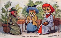 "Raphael Tuck Oilette Louis Wain Cats ""Three OF Kissingen"" Postcard 