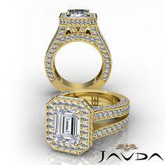 Glistening Emerald Diamond Halo Engagement Ring GIA G SI1 14k Yellow Gold 3.52 ct