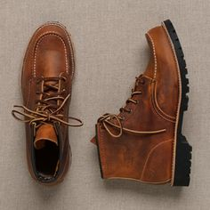 """Classic Moc 6"""" boots by Red Wing. It's kind of funny. I see fashion enthusiasts in the city who wear Red Wing boots because it's currently trending in menswear and then I meet people from the Midwest who actually come from farms and get their boots re-soled because they carry wood and do heavy lifting in theirs. I like to think I'm a bit of both."""