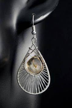 Sterling Silver earrings with Citrine / wire wrapped /
