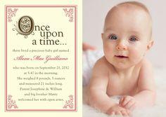 Storybook Start: Medium Pink - Girl Photo Birth Announcements in Medium Pink | Hello Little One