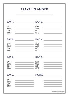 7 Day Planner Template Unique Free Printable 7 Day Travel Planner Use to Plan Ou. - 7 Day Planner Template Unique Free Printable 7 Day Travel Planner Use to Plan Outfits - Travel Itinerary Template, Travel Checklist, Packing Tips For Travel, Travel Essentials, Europe Packing, Traveling Europe, Backpacking Europe, Travelling Tips, Packing Lists