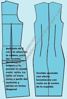 Patrón de vestido espalda con corte en el centro con pinza de levante para evitar quede corto atrás