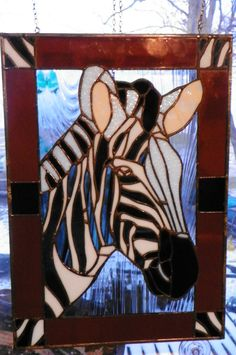 Zebra stained glass panel