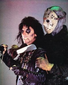 Alice Cooper and Jason Voorhees. Promo shot for Friday the 13th Part VI: Jason Lives (1986). Alice Cooper recorded the single The Man Behind the Mask for the soundtrack.