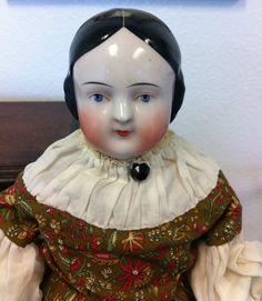 RARE Pink Tint Center Part 6 Hole Lustre Antique Covered Wagon China Head Doll | eBay