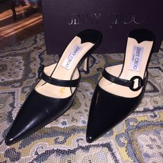 Jimmy Choo London - Winona Color: Kid Black ; Brand New /With a Spot/Stain in the Right Shoe. <(Pictured. Possibly sticker residue.) {Comes W/ Box.} Jimmy Choo Shoes Heels