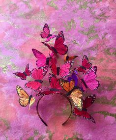 The Social Butterfly Womens Derby Fascinator Butterfly Crown Flower Crown Headpiece Butterfly Headdress Statement Largest Butterfly, Monarch Butterfly, Butterfly Makeup, Pink Butterfly, Social Butterfly Costume, Kids Butterfly Costume, Costume Papillon, Orange Palette, Halloween Karneval