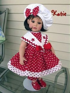 Baby Clothes Patterns, Girl Dress Patterns, Clothing Patterns, American Doll Clothes, Ag Doll Clothes, Doll Fancy Dress, Nautical Outfits, Toddler Fashion, Beautiful Dolls