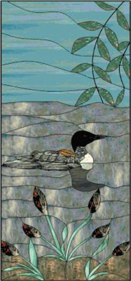Stained Glass Loon Counted Cross Stitch Pattern