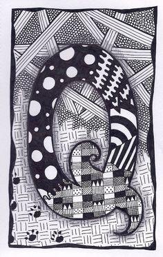 Zentangle, Letter Q, Zebra Letters, name, bunting, alphabet. £3.50, via Etsy.