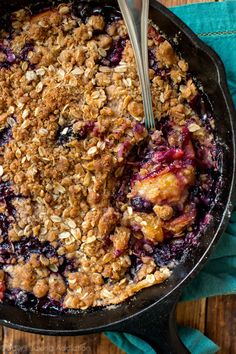 Take fruit crisp to the next level by browning the butter and using a brown sugar cinnamon streusel. Brown butter blueberry peach crisp is a new favorite!