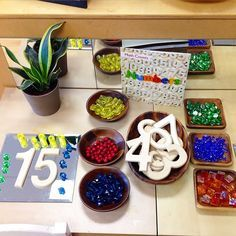 Provocations are so much more inviting when using reflective surfaces and beautiful bowls and trays from Thanks for the heads-up on this great treasure trove! Numbers Kindergarten, Kindergarten Centers, Math Numbers, Preschool Math, Math Classroom, Teaching Math, Math Centers, Kindergarten Inquiry, Numeracy Activities