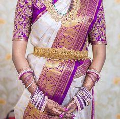 South Indian bride. Diamond Indian bridal jewelry.Temple jewelry. Jhumkis. Purple and white silk kanchipuram sari.braid with fresh jasmine flowers. Tamil bride. Telugu bride. Kannada bride. Hindu bride. Malayalee bride.Kerala bride.South Indian wedding.