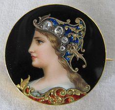 Circa 1880 Swiss Enamel Gold & Diamond Brooch