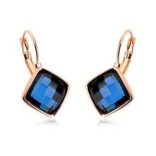 5 Colors Square Crystal Charm Dangle Earrings Rose Gold Plated Jewelry with Austrian Crystal(China (Mainland))