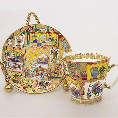 Russian Imperial Lomonosov Porcelain Bone Coffee cup & saucer Fairytale Gold