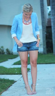 Living in Color Print wearing an Annie Griffin Collection periwinkle blazer