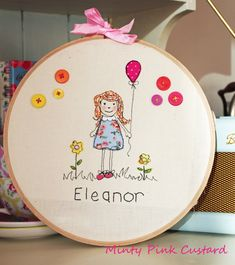 Free Motion Embroidery Personalised Art by MintyPinkCustard, £30.00