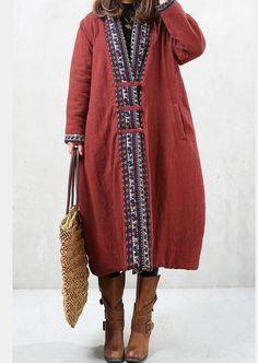 Cotton linen cotton-padded jacket,winter coat women,winter jacket,long Cotton-padded jacket,Dark red coat,dark blue coat-Women Clothing F730
